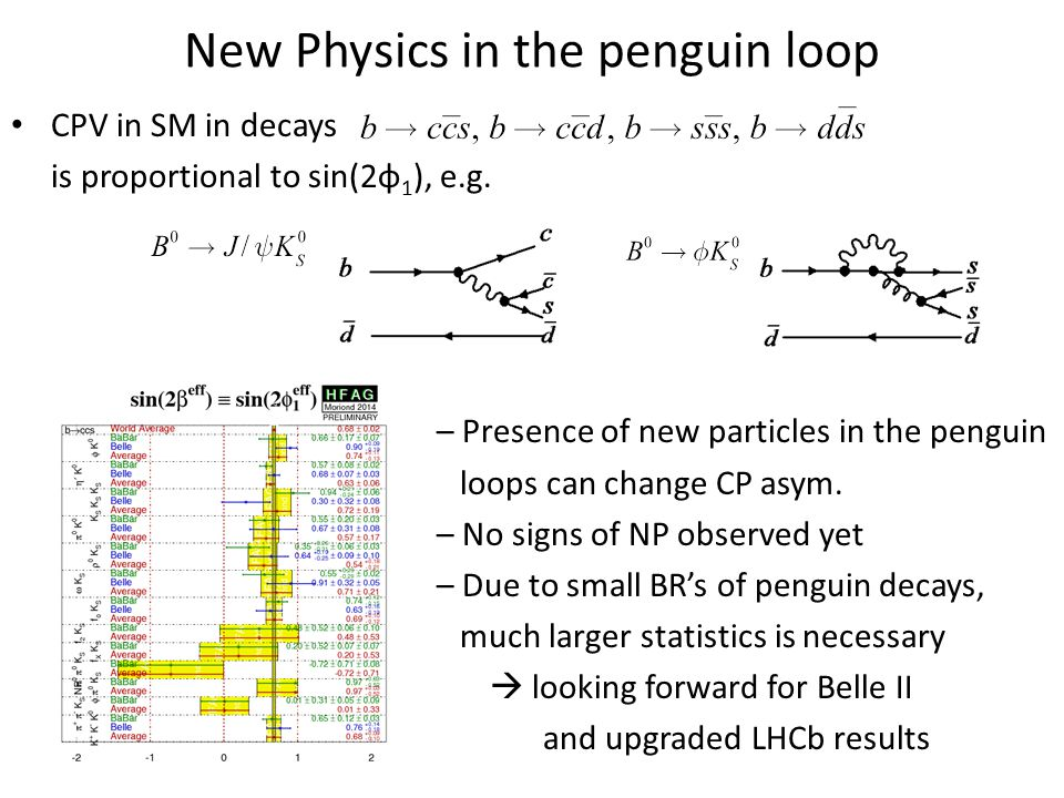 New Physics in the penguin loop CPV in SM in decays is proportional to sin(2φ 1 ), e.g. – Presence of new particles in the penguin loops can change CP