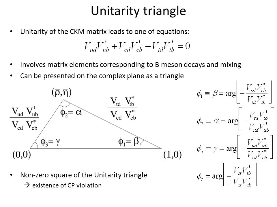 Unitarity triangle Unitarity of the CKM matrix leads to one of equations: Involves matrix elements corresponding to B meson decays and mixing Can be p