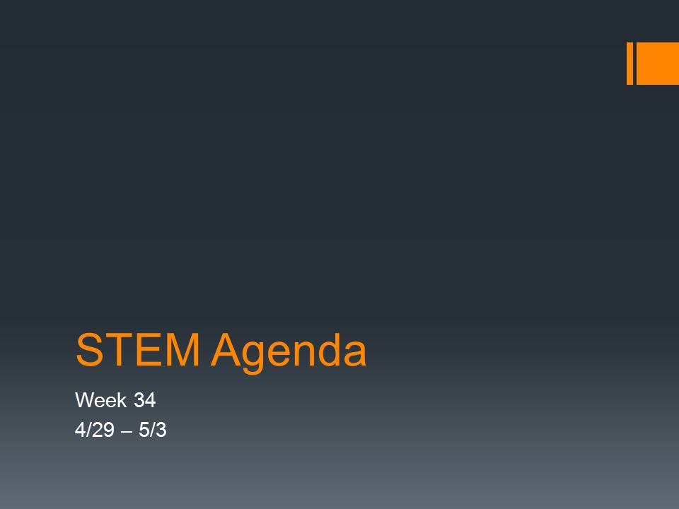 STEM Agenda Week 34 4/29 – 5/3