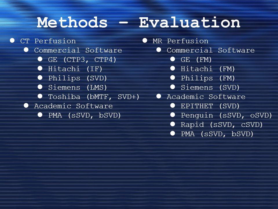 Methods – Evaluation CT Perfusion Commercial Software GE (CTP3, CTP4) Hitachi (IF) Philips (SVD) Siemens (LMS) Toshiba (bMTF, SVD+) Academic Software PMA (sSVD, bSVD) MR Perfusion Commercial Software GE (FM) Hitachi (FM) Philips (FM) Siemens (SVD) Academic Software EPITHET (SVD) Penguin (sSVD, oSVD) Rapid (sSVD, cSVD) PMA (sSVD, bSVD)