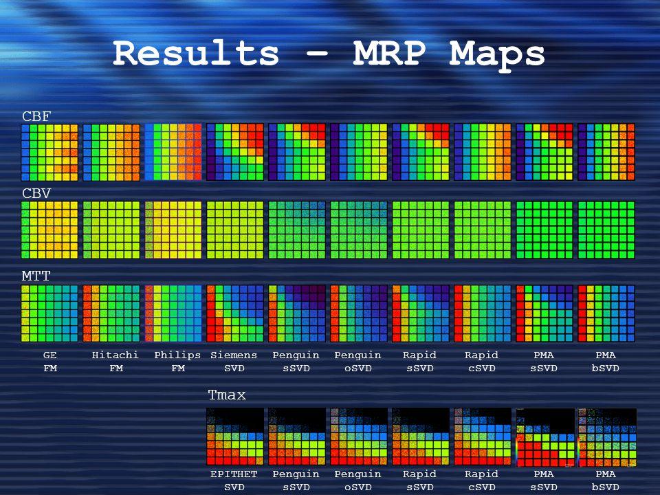 Results – MRP Maps CBF CBV MTT GE FM Hitachi FM Philips FM Siemens SVD PMA sSVD PMA bSVD Rapid sSVD Rapid cSVD Penguin sSVD Penguin oSVD Tmax PMA sSVD PMA bSVD Rapid sSVD Rapid cSVD Penguin sSVD Penguin oSVD EPITHET SVD