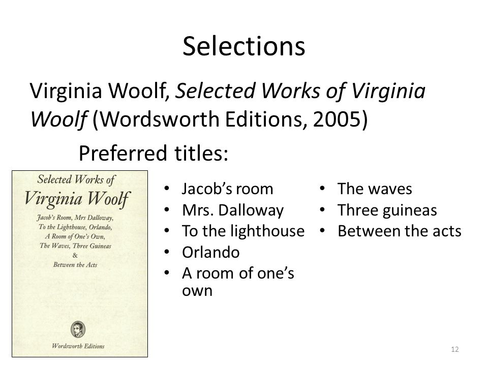 Selections Virginia Woolf, Selected Works of Virginia Woolf (Wordsworth Editions, 2005) Preferred titles: Jacob's room Mrs.
