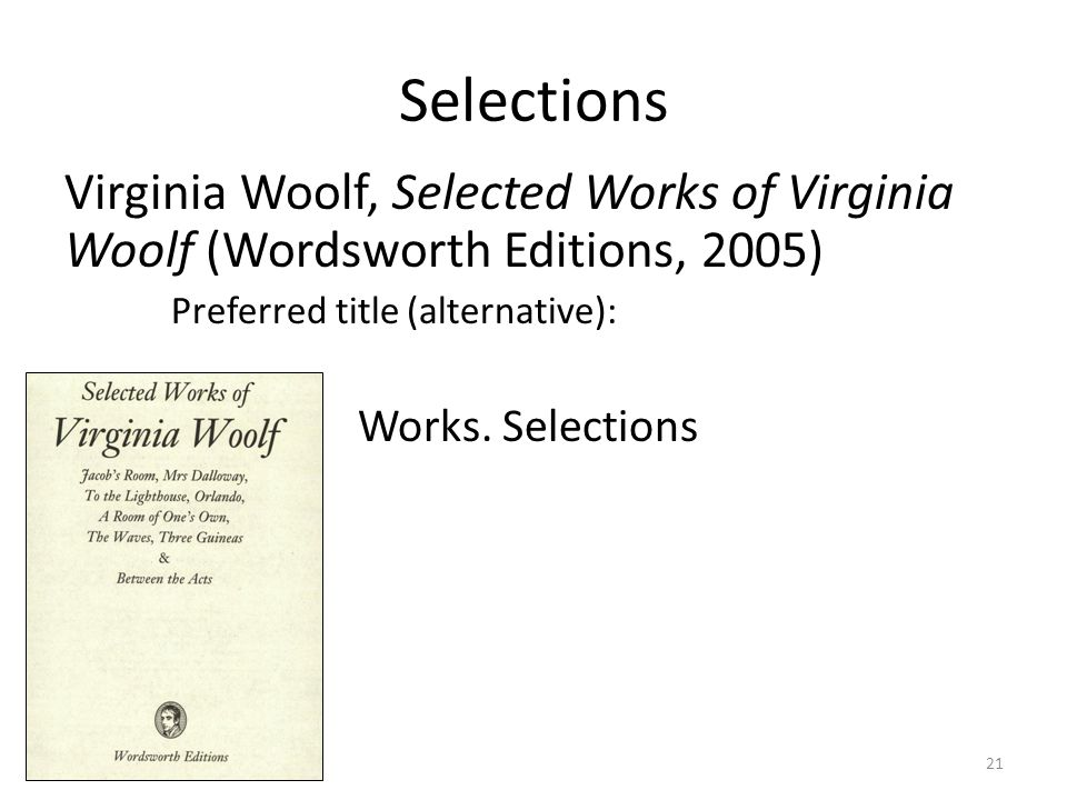 Selections Virginia Woolf, Selected Works of Virginia Woolf (Wordsworth Editions, 2005) Preferred title (alternative): Works.
