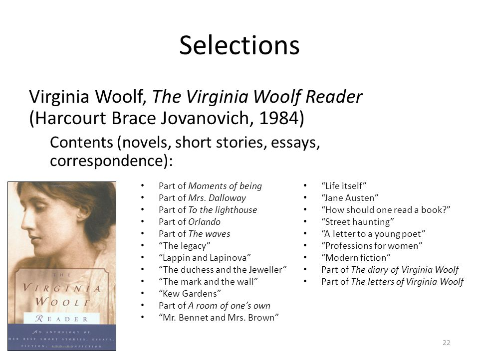 Selections Virginia Woolf, The Virginia Woolf Reader (Harcourt Brace Jovanovich, 1984) Contents (novels, short stories, essays, correspondence): Part of Moments of being Part of Mrs.