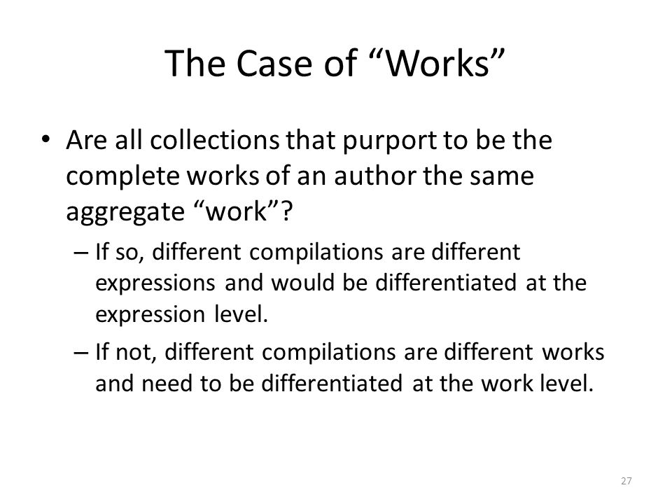 The Case of Works Are all collections that purport to be the complete works of an author the same aggregate work .