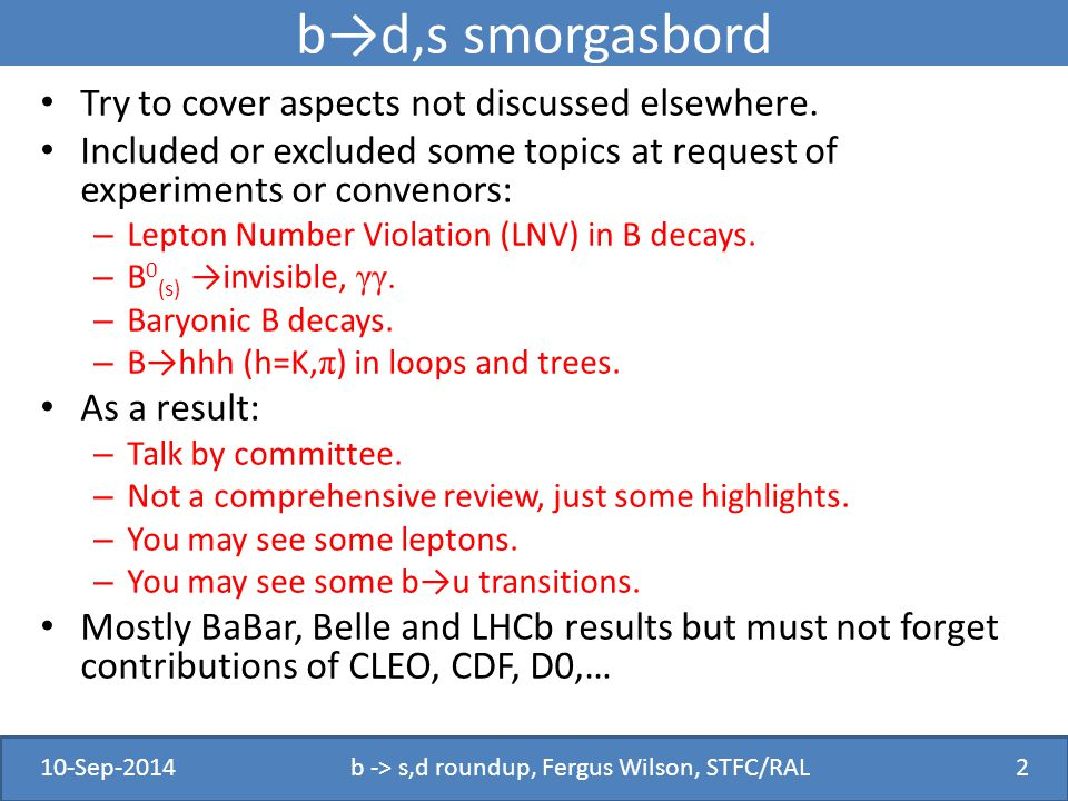 b→d,s smorgasbord Try to cover aspects not discussed elsewhere.