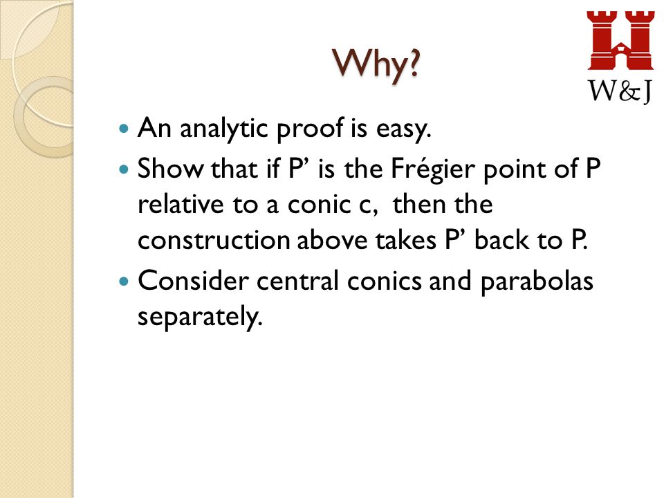 Why.An analytic proof is easy.