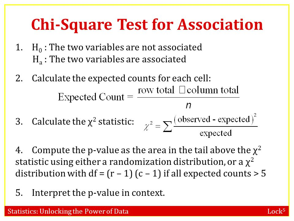 Statistics: Unlocking the Power of Data Lock 5 Chi-Square Test for Association Note: The χ 2 -test for two categorical variables only indicates if the variables are associated.