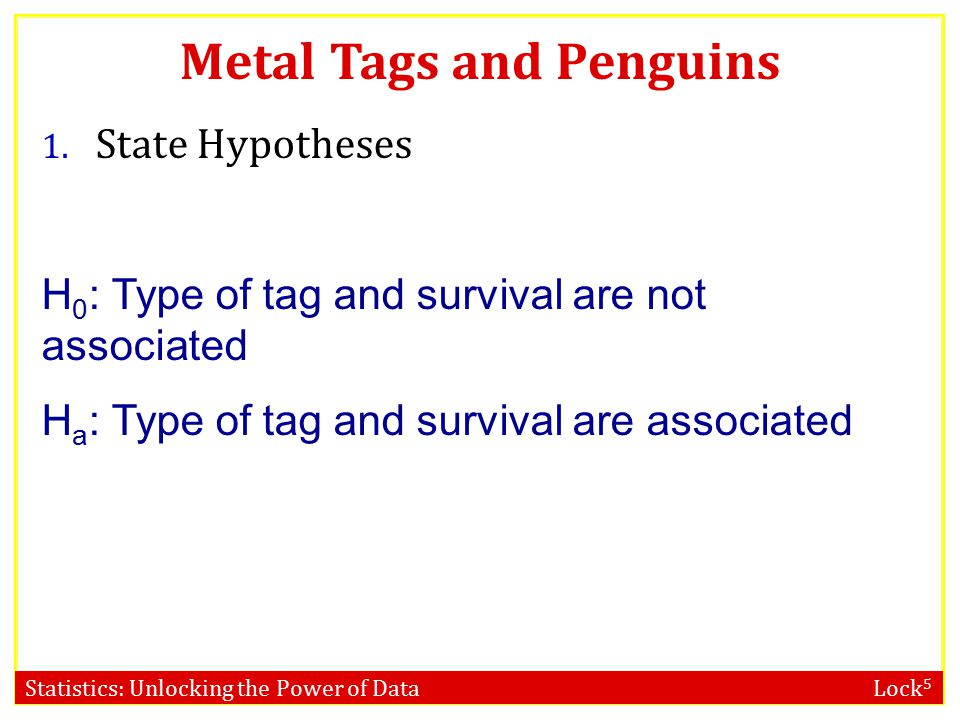 Statistics: Unlocking the Power of Data Lock 5 Metal Tags and Penguins Is there an association between type of tag and survival.
