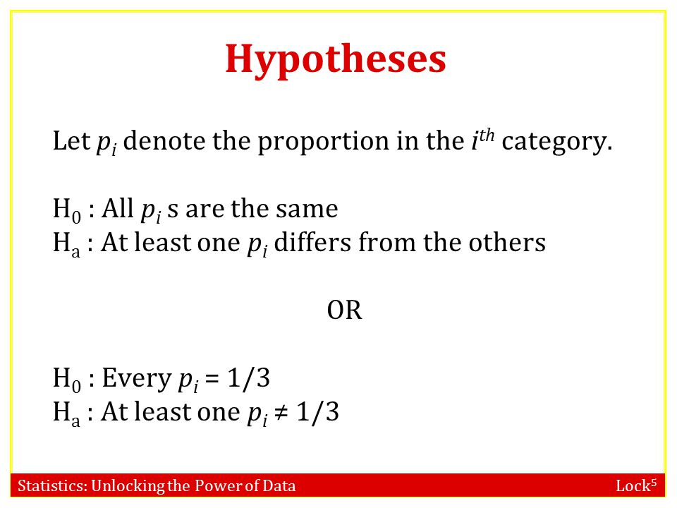 Statistics: Unlocking the Power of Data Lock 5 Hypotheses Let p i denote the proportion in the i th category.