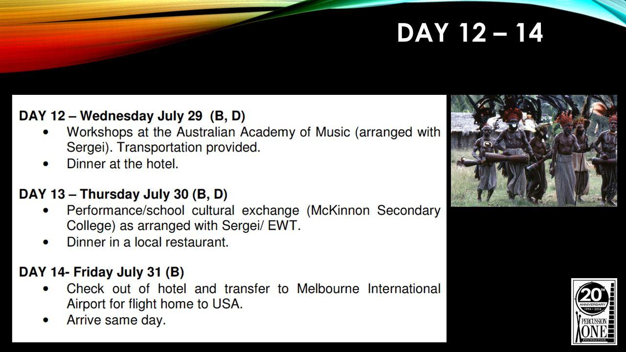 PERFORMANCES 6 - 8 Live Performances / Master Classes Sydney Grammar School Australian Academy of Music McKinnon Secondary College Additional Performances to be confirmed