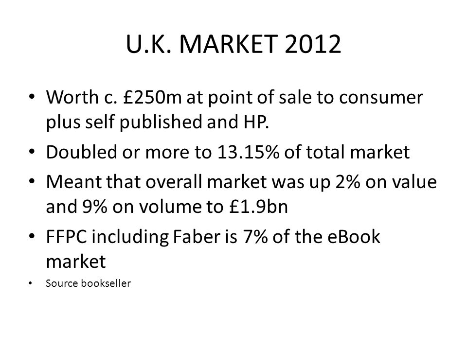 U.K. MARKET 2012 Worth c. £250m at point of sale to consumer plus self published and HP.