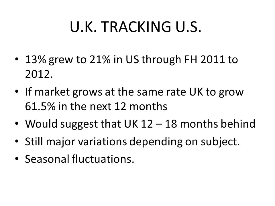 U.K. TRACKING U.S. 13% grew to 21% in US through FH 2011 to 2012.