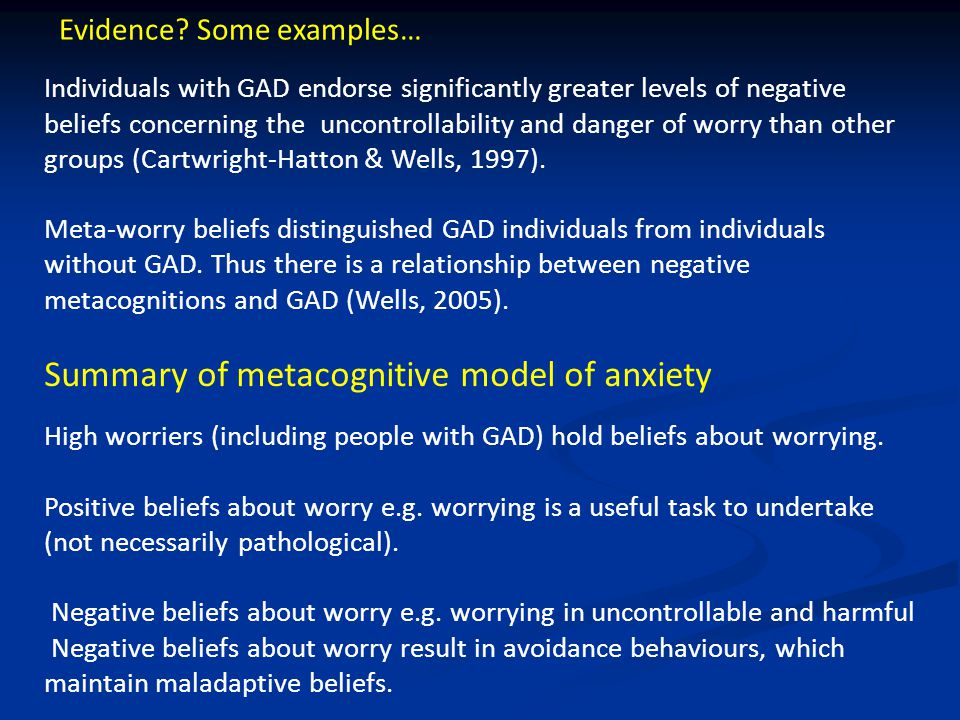 High worriers (including people with GAD) hold beliefs about worrying.