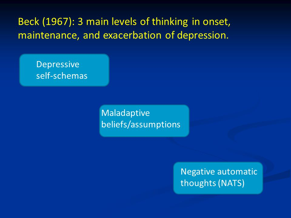 Beck (1967): 3 main levels of thinking in onset, maintenance, and exacerbation of depression.