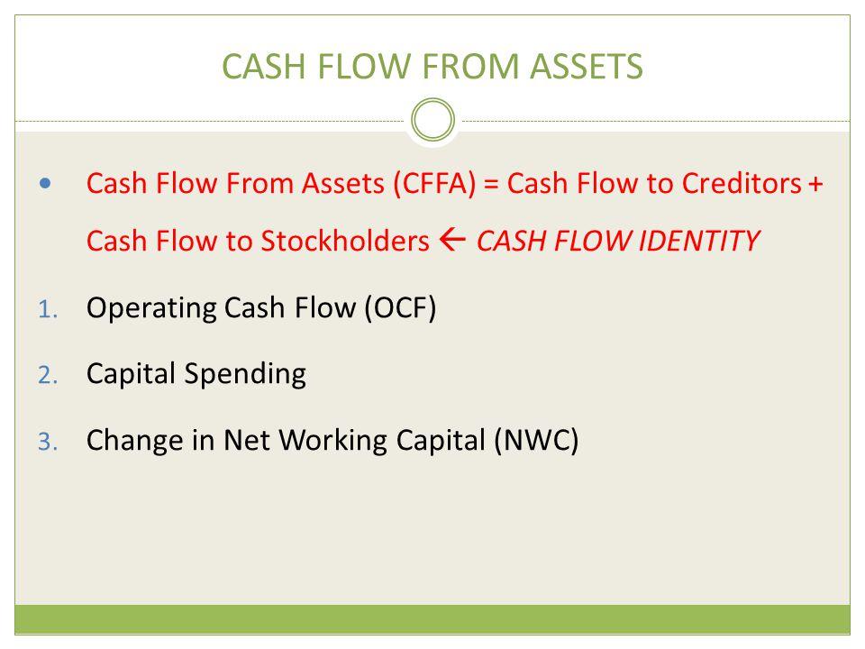 CASH FLOW FROM ASSETS Cash Flow From Assets (CFFA) = Cash Flow to Creditors + Cash Flow to Stockholders  CASH FLOW IDENTITY 1. Operating Cash Flow (O