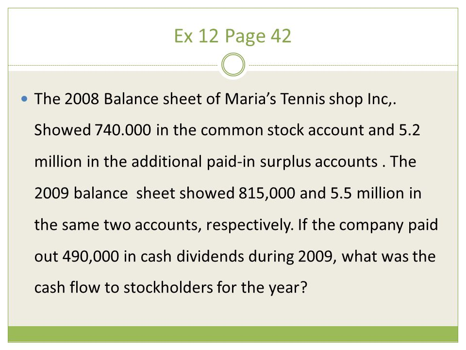 Ex 12 Page 42 The 2008 Balance sheet of Maria's Tennis shop Inc,. Showed 740.000 in the common stock account and 5.2 million in the additional paid-in