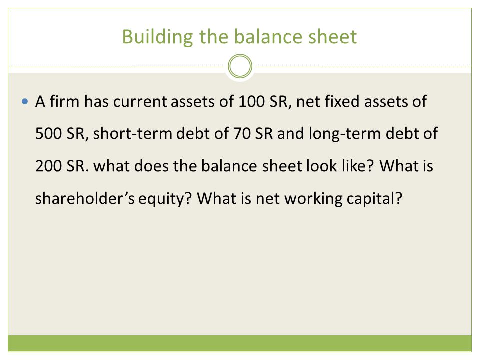 Building the balance sheet A firm has current assets of 100 SR, net fixed assets of 500 SR, short-term debt of 70 SR and long-term debt of 200 SR. wha
