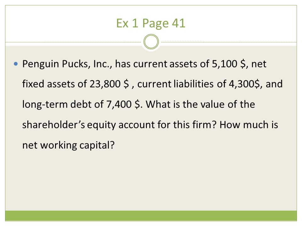 Ex 1 Page 41 Penguin Pucks, Inc., has current assets of 5,100 $, net fixed assets of 23,800 $, current liabilities of 4,300$, and long-term debt of 7,