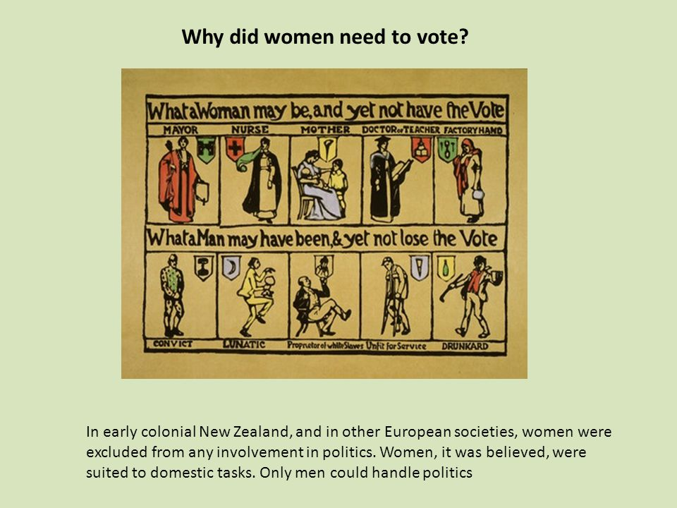 Why did women need to vote? In early colonial New Zealand, and in other European societies, women were excluded from any involvement in politics. Wome