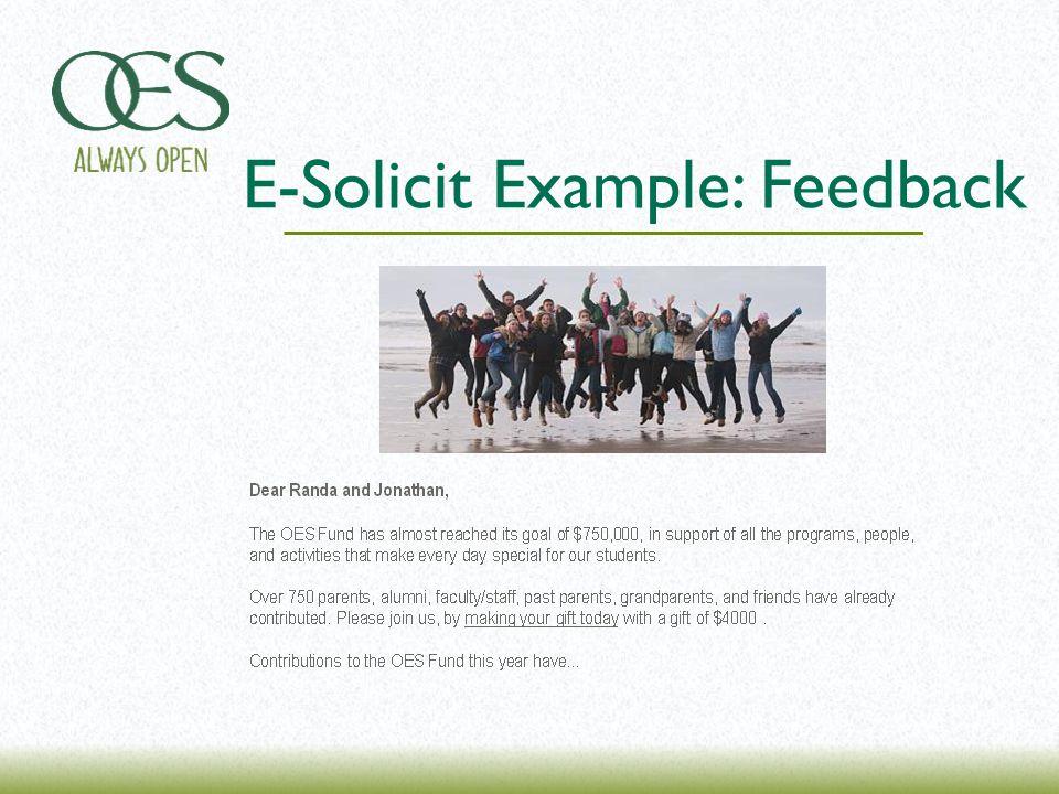 E-Solicit Example: Feedback
