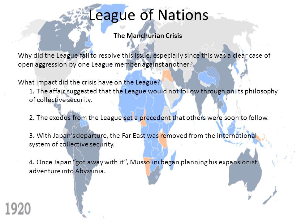 League of Nations The Manchurian Crisis Why did the League fail to resolve this issue, especially since this was a clear case of open aggression by on