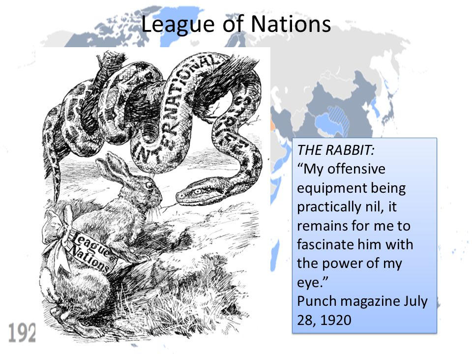 """League of Nations THE RABBIT: """"My offensive equipment being practically nil, it remains for me to fascinate him with the power of my eye."""" Punch magaz"""
