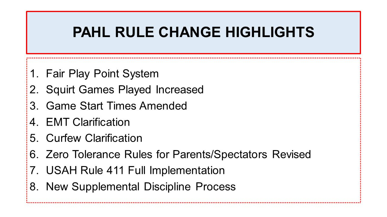 PAHL RULE CHANGE HIGHLIGHTS 1.Fair Play Point System 2.Squirt Games Played Increased 3.Game Start Times Amended 4.EMT Clarification 5.Curfew Clarification 6.Zero Tolerance Rules for Parents/Spectators Revised 7.USAH Rule 411 Full Implementation 8.New Supplemental Discipline Process
