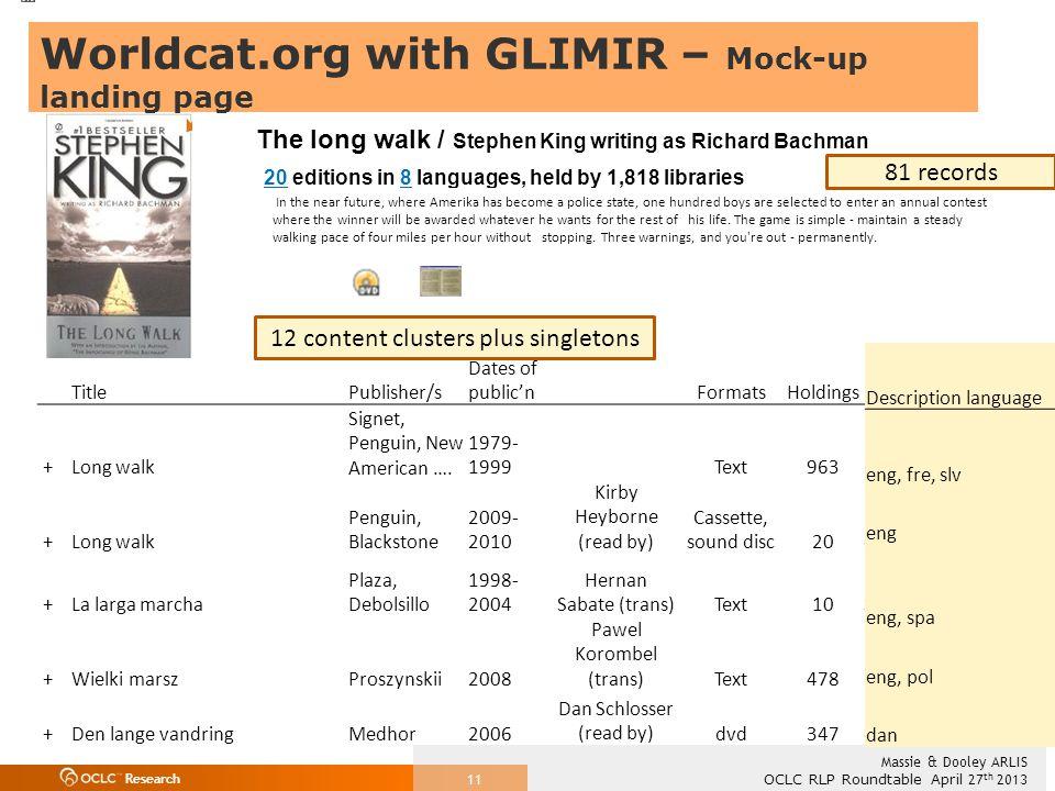 Research OCLC RLP Roundtable April 27 th 2013 Massie & Dooley ARLIS 11 TitlePublisher/s Dates of public'nFormatsHoldingsLanguage +Long walk Signet, Penguin, New American ….