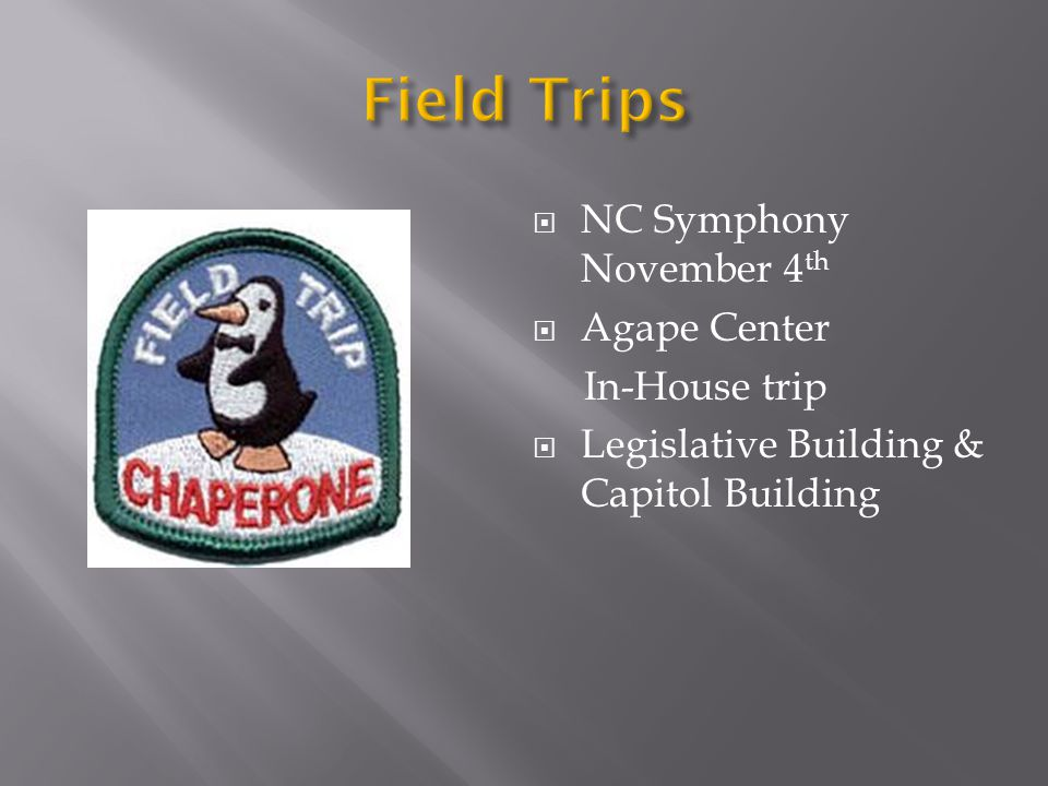  NC Symphony November 4 th  Agape Center In-House trip  Legislative Building & Capitol Building