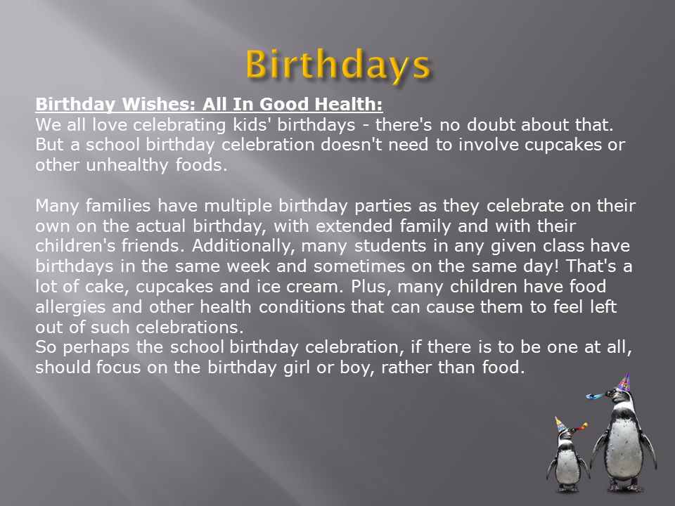 Birthday Wishes: All In Good Health: We all love celebrating kids birthdays - there s no doubt about that.