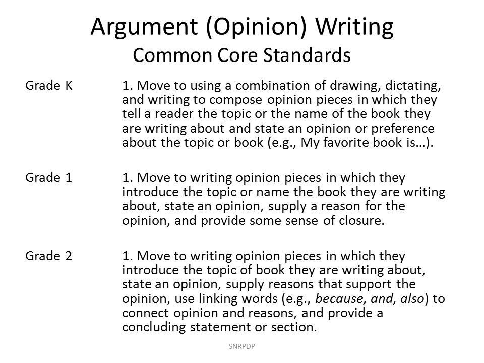 Argument (Opinion) Writing Common Core Standards SNRPDP Grade K1.
