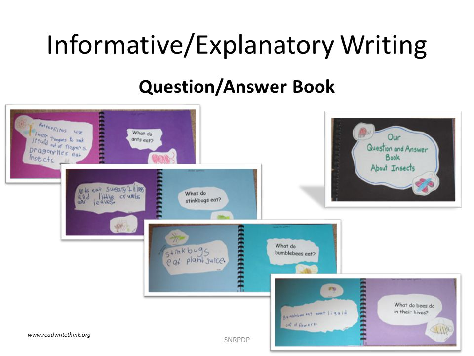 Informative/Explanatory Writing Question/Answer Book SNRPDP www.readwritethink.org