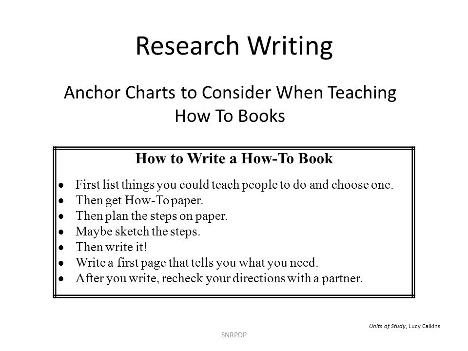 Anchor Charts to Consider When Teaching How To Books SNRPDP How to Write a How-To Book  First list things you could teach people to do and choose one.