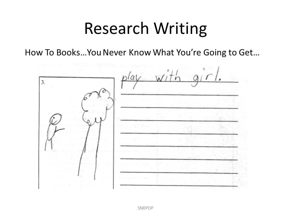 How To Books…You Never Know What You're Going to Get… SNRPDP Research Writing