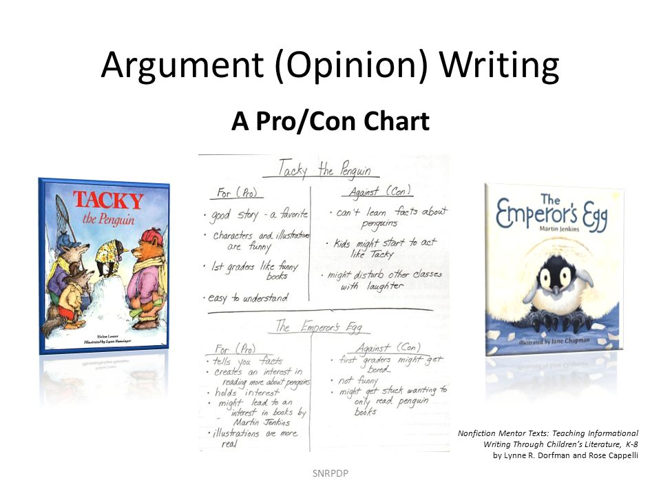 Argument (Opinion) Writing SNRPDP A Pro/Con Chart Nonfiction Mentor Texts: Teaching Informational Writing Through Children's Literature, K-8 by Lynne R.