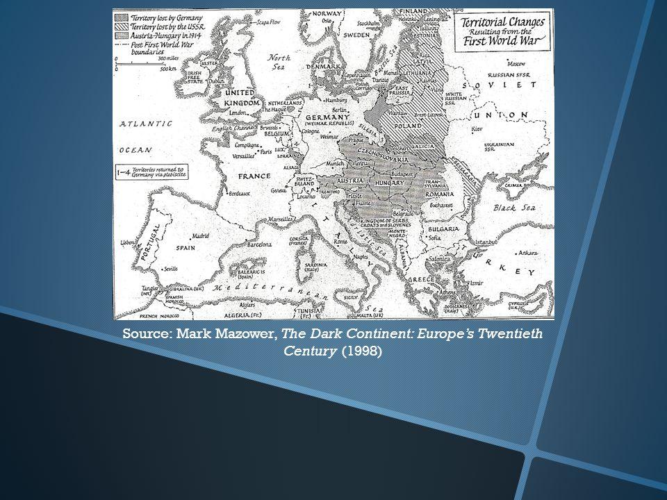 Source: Mark Mazower, The Dark Continent: Europe's Twentieth Century (1998)