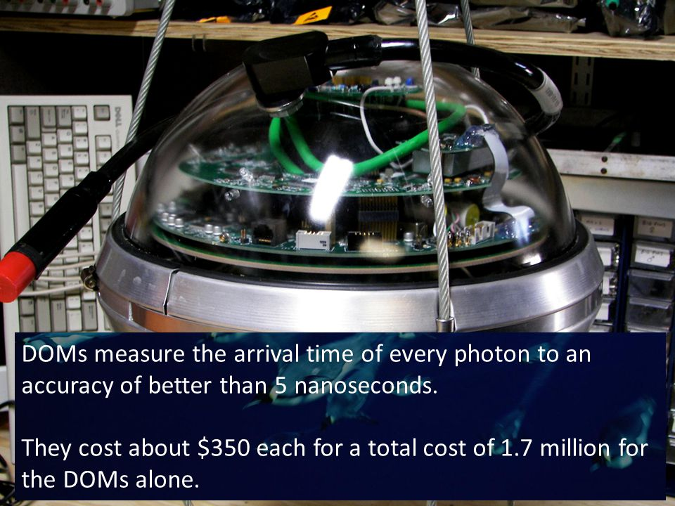 DOMs measure the arrival time of every photon to an accuracy of better than 5 nanoseconds.
