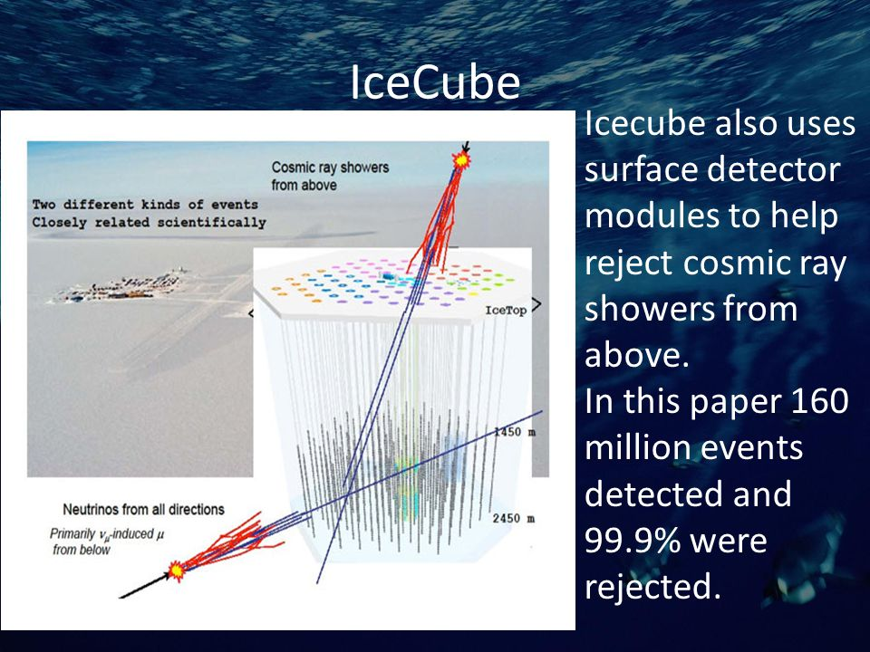 IceCube Icecube also uses surface detector modules to help reject cosmic ray showers from above.