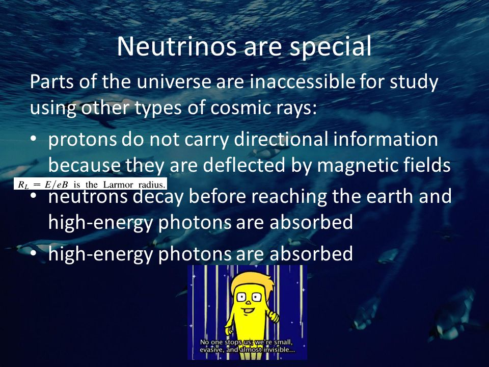 Neutrino mixing Neutrinos change 'flavors' and so can be any of the three types For example, the T2K experiment being worked on by some people here at UW will measure the mixing from ν μ to ν e by leveraging the mixing as a function of distance