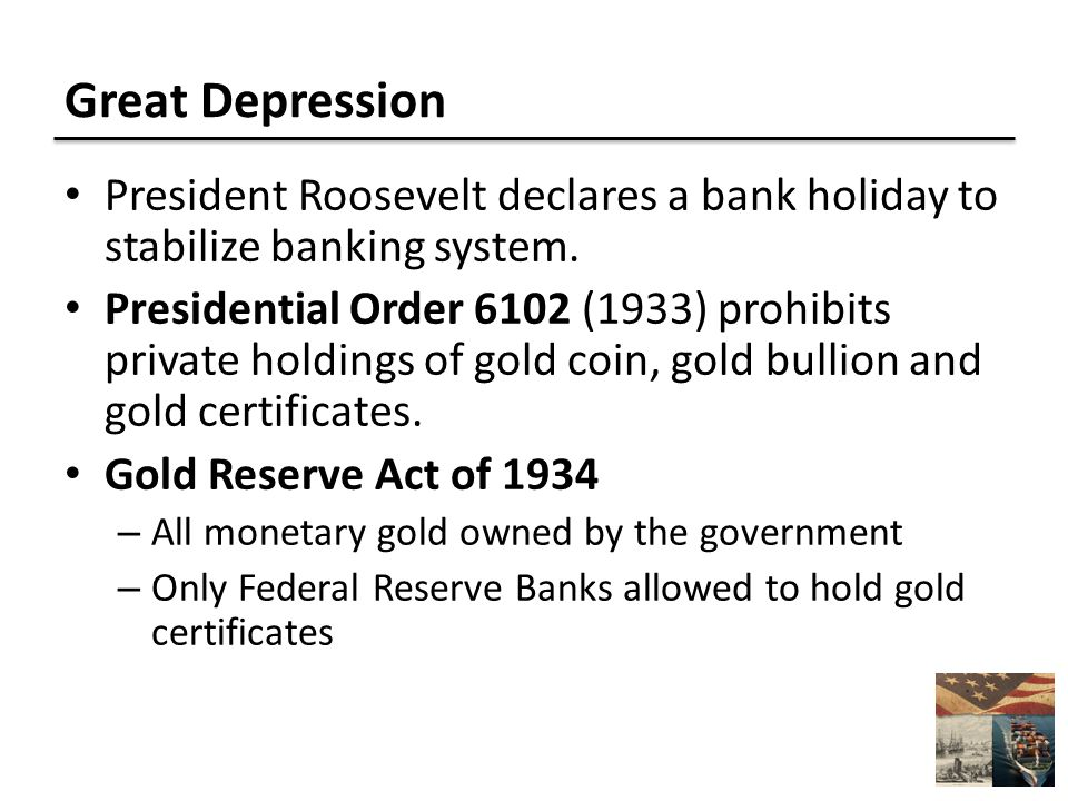 Great Depression President Roosevelt declares a bank holiday to stabilize banking system.