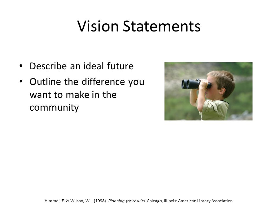 Vision Statements Describe an ideal future Outline the difference you want to make in the community Himmel, E.