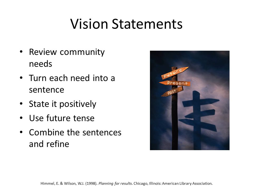 Vision Statements Review community needs Turn each need into a sentence State it positively Use future tense Combine the sentences and refine Himmel, E.