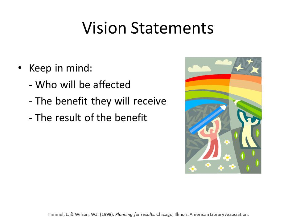 Vision Statements Keep in mind: - Who will be affected - The benefit they will receive - The result of the benefit Himmel, E.