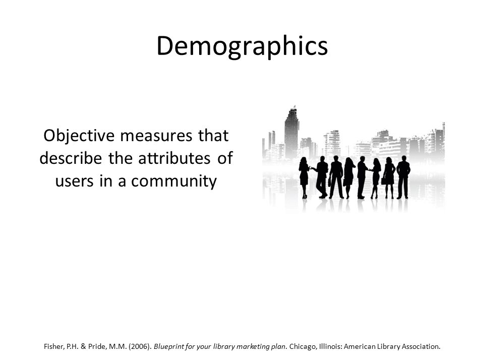 Demographics Objective measures that describe the attributes of users in a community Fisher, P.H.