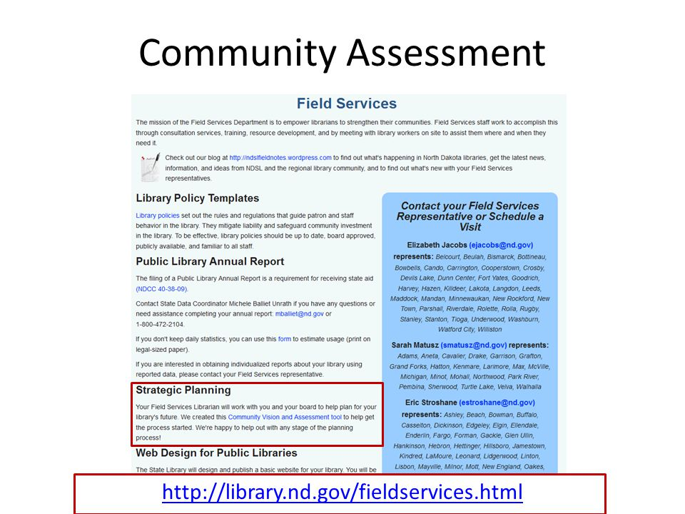Community Assessment http://library.nd.gov/fieldservices.html