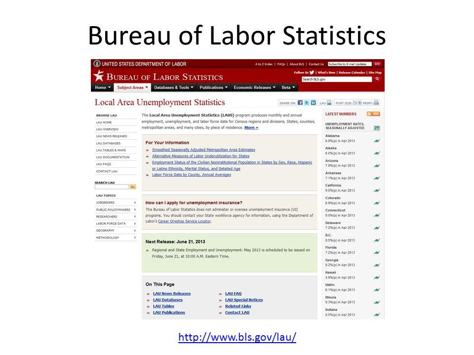 Bureau of Labor Statistics http://www.bls.gov/lau/