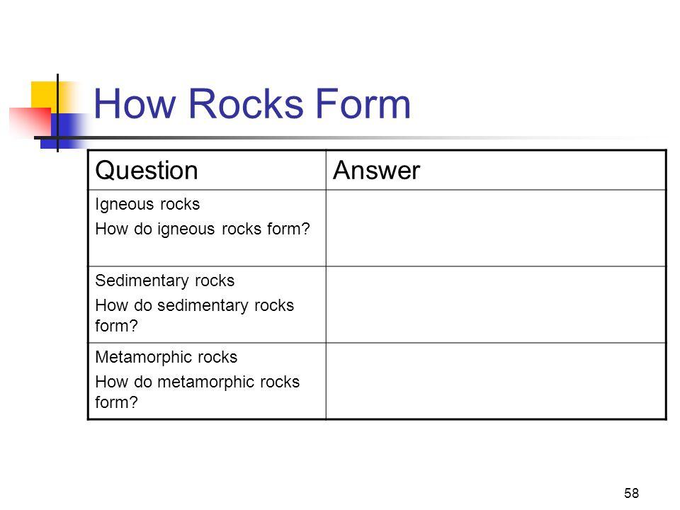 58 How Rocks Form QuestionAnswer Igneous rocks How do igneous rocks form.