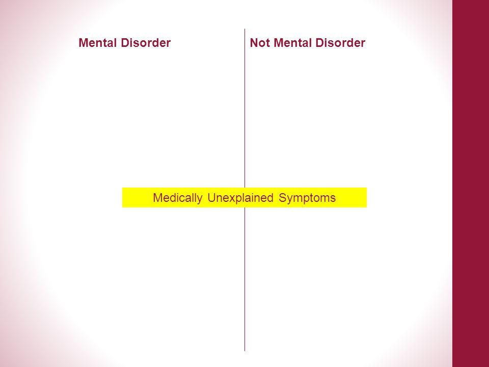 Medically Unexplained Symptoms Mental DisorderNot Mental Disorder
