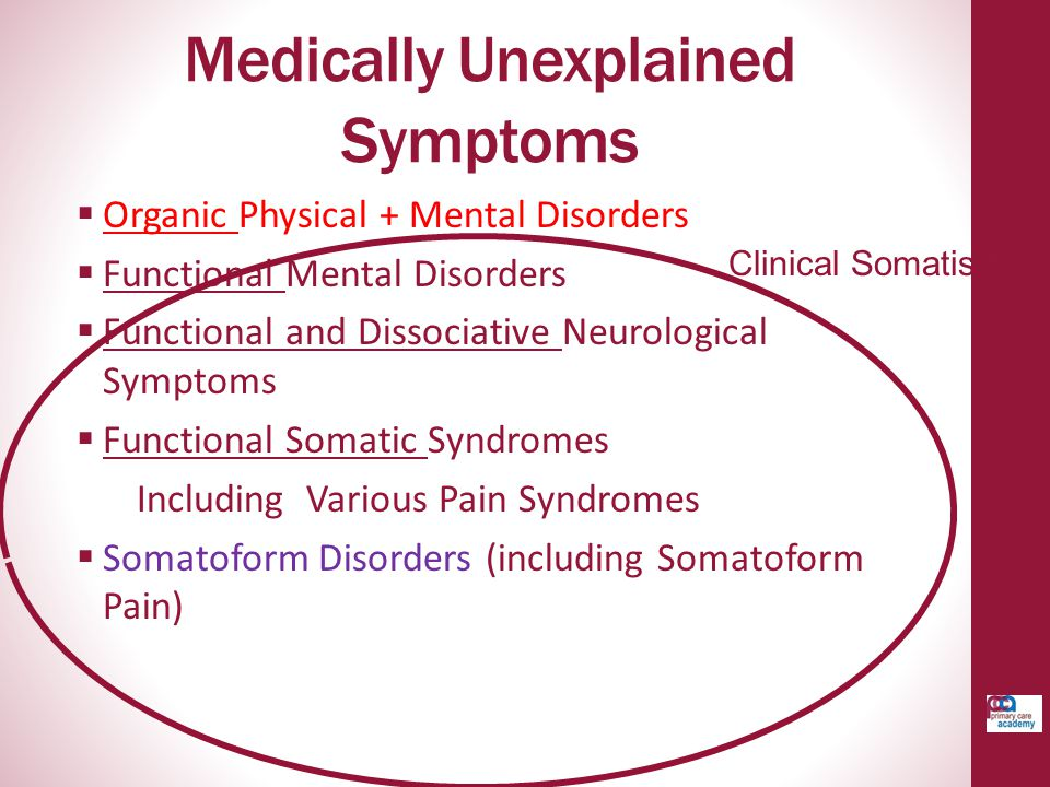 Medically Unexplained Symptoms  Organic Physical + Mental Disorders  Functional Mental Disorders  Functional and Dissociative Neurological Symptoms